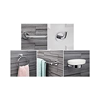 Bathroom 5 Piece Modern Round Chrome Accessory Set Toilet Paper Holder, Towel Rail, Soap Dish, Robe Hook and Towel Ring