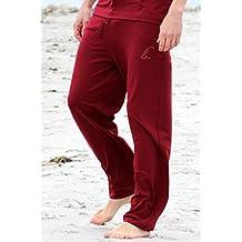 """Esparto Thanda Yoga Pantalones """"sitaara Hombre y–Boyfriend Style–Mujer en algodón orgánico, color Granate, tamaño extra-large"""