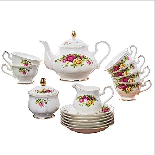 NAIHEQIAO NAIHEQIAOKaffeeservice,Teeservice,British Classic Garden Rose Muster Kaffeetasse Dish Set Für Familie Hochzeitsgeschenk Rose Garden Bone China