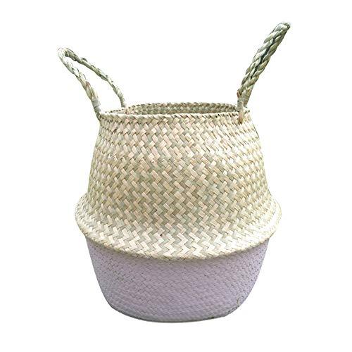 shuohu - portavaso da giardinaggio in paglia portatile per fiori in stile rurale, cestino portaoggetti pieghevole per lavanderia bianco infradito colorati estivi, con finte perline l