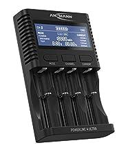 Chargeur de Pile ANSMANN pour Piles AA/AAA/C/D NiMH & Chargeur de Batterie li-ION 18650/26650 avec 4 progr. : Charger, décharger, Tester, charg. Rapide + USB | Station d'Entretien Powerline 4 Ultra