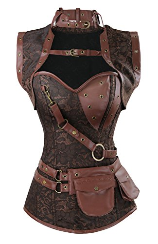 Charmian Women's Spiral Steel Boned Steampunk Gothic Vintage Brocade corsé with Jacket and Belt Coffee Brown XX-Large
