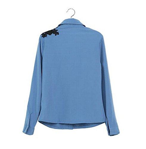 Smile YKK Femme Chemise Tops Shirt Imprimé Fleur Uni Bleu Clair