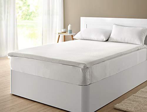 Classic Blanc - Topper/sobrecolchón viscoelástico confort plus, firmeza media, altura 5cm. 150x200cm-Cama 150 (Todas las medidas)