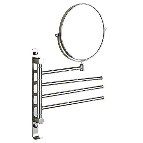 YONGMEI Badezimmerspiegel - Doppelseitig Wandmontierter Schminkspiegel Drehbarer Handtuchhalter aus Edelstahl (Farbe : Three Pole)