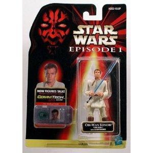 Star Wars Episode 1 - Action Figur 84073 - Obi-Wan Kenobi (Jedi Duel) mit Lichtschwert (inkl. CommTech Chip) (Lichtschwert Für Action-figuren)