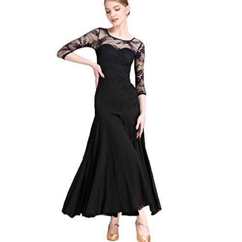 Moderne Tanzabnutzung für Frauen Spitze Splice Wettkampftraining Dress Ballsaal Tanz Split Rock Walzer Tango Match-Tanz-Outfit Einstellen Performance 2 Stück, Black, XXL