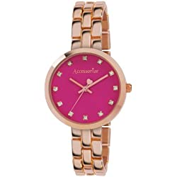 Accessorize Women's Quartz Watch with Pink Dial Analogue Display and Rose Gold Bracelet AZ4001