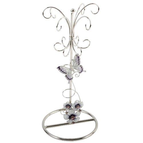 Juliana glass jewellery holder purple butterfly/flowers/crystal 561jh