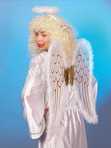Engel-Set: Flügel, Heiligenschein, weiß-gold mit (Engel Kostüm Flügel Gold)