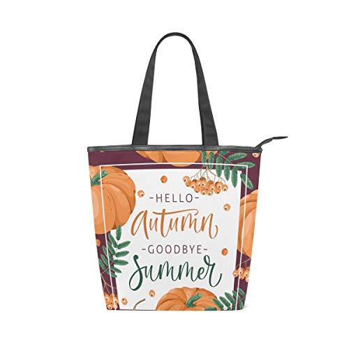 Jeansame Canvas-Tasche, Einkaufstasche, Einkaufstasche, Tragegriff, Schultertasche, Herbst/Herbst/Halloween, Erntedankfest