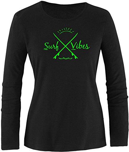 EZYshirt® Surf Vibes Damen Longsleeve Schwarz/ Neongrün