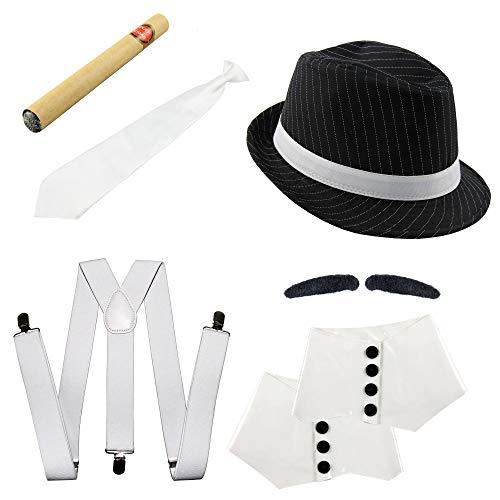 20er Jahre Gangster Kostüm Set I Hosenträger - Krawatte - Hut - Zigarre - Bart - Gamaschen I 6 teiliges Mafia Set für Fasching & Karneval