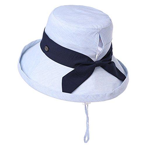 Bonnie Blue Stoffen (Packbarer Sonnenhut für Damen, UV-Schutz, Pferdeschwanz, für Strand, Safari, Wandern, Reisen, Bonnie 55-61 cm, Damen, Blue_99002, Medium)