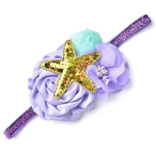 Meerjungfrau Stirnband Lavendel mit Seestern Pailletten für Baby Girl Geburtstag Geschenk und Meerjungfrau Thema Party Supplies