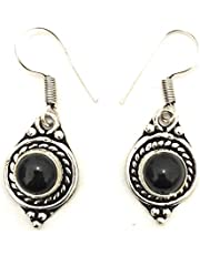 Athizay Black beads Earring in antique silver metal body small dangler for office use Metal Stone Dangle Earring, Earring Set for women fashion jewelry