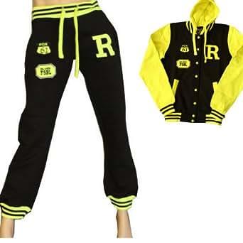 Damen Sporthose College Jacke Jogginghose Trainingsanzug Jogginganzug Trainingshose für Damen und Herren (XXL, Set Schwarz Gelb Anzug)
