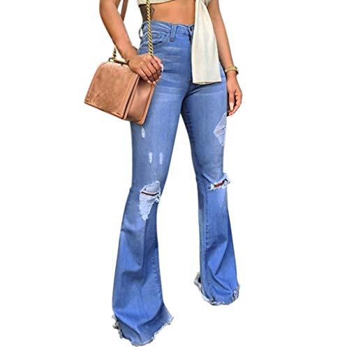 Watopi Frauen Hohe Taille Sprecher Hosen Jeans Knopf Quaste Hosen Hosen Bell-Bottom Hosen Röhrenjeans - Hohe Bell-bottom-jeans Taille