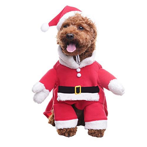 BINGPET Weihnachts-Kostüm für Hunde, mit Nikolausmütze, Haustier-Kleidung, Weihnachts-Outfit, Kapuzenpullover, für Kleine bis große Hunde, Welpen, Katzen, Cosplay, Urlaub