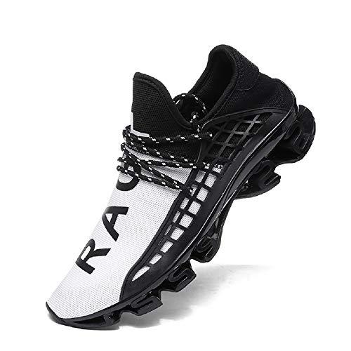 FUSHITON Sportschuhe Herren Laufschuhe Damen Turnschuhe Freizeitschuhe Atmungsaktiv Sneakers Mode Straßenlaufschuhe, Weiß, 40 EU