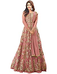 3d32a9a67 Sojitra Enterprise woman s Net Heavy Embroidered with Stone work  Semi-Stitched Anarkali Gown (Free