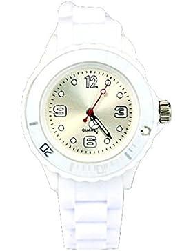 Kinder Silikon Uhr Uhren S (klein) 3,2 cm Weiss Trend Watch Style Sport Herrenuhr Damenuhr HOT - Verfügt über...