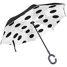 ALAZA Negro Lunares en Blanco Paraguas invertido Doble Capa Resistente al Viento Reverse Paraguas