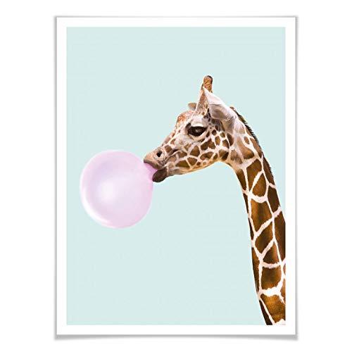 Poster Paul Fuentes - Giraffe und ihr Kaugummi Wandbild Tier kauen Kaugummiblase bubblegum Illustration Grafikdesign Fotokunst bunt ohne Zubehör Wall-Art - 40x50
