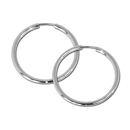 SilberDream Ohrringe 40mm Damen-Schmuck 925er Silber Creolen Simply SDO070