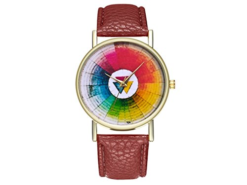 HOUHOUNNPO Reloj de Moda Retro Redondo Swatches Reloj de Mujer Hombres Regalo de cumpleaños (café)