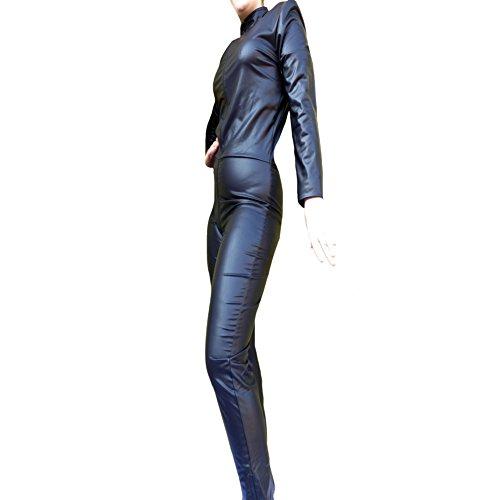 RenasDreams Damen Body 34 schwarz Catsuit S Jumpsuit GoGo Tabledance Reißverschluss Hose Arm lang ganzkörper (S)