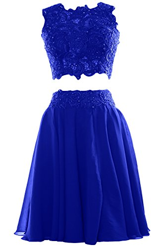 MACloth Women Two Piece Lace Chiffon Short Prom Dress Cocktail Party Formal Gown Royal Blue