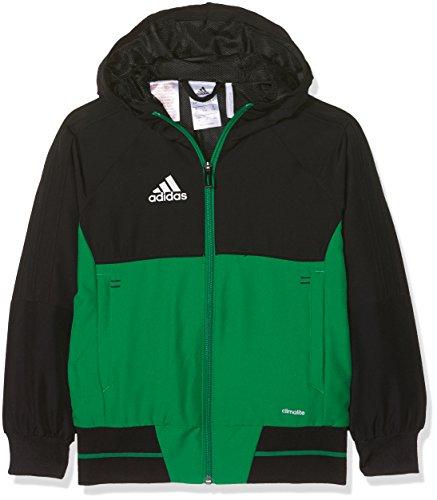Adidas tiro17 pre y, giacca bambino, nero/verde/bianco, 128