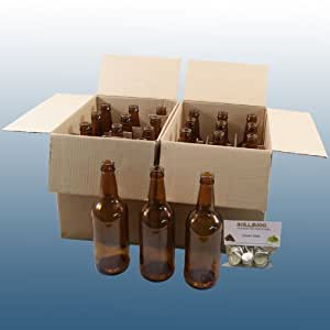 Home Brew - 24 x Brown Glass Beer Bottles With Pack Of Balliihoo® Crown Caps