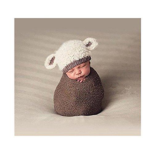 NUOLUX Neugeborenes Baby Kostüm gestrickt Fotografie Requisiten Lamm Hut für Kinder von 3-4 Monate (Kleinkind Kinder Angel Bekleidung)