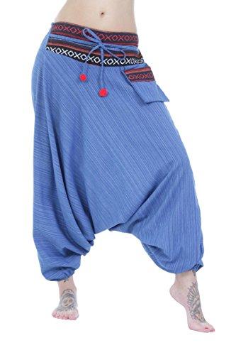 hmong-harem-pantaloni-cavallo-basso-100-cotone-ricamato-cintura-blue-taglia-unica