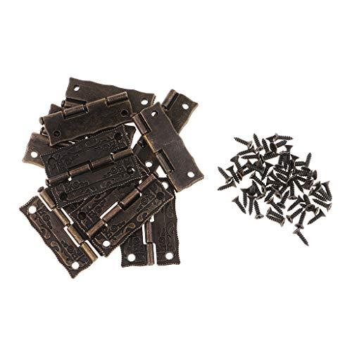 FLAMEER 10 Stücke Vintage Mini Türband Scharnier Fenster Schrank Scharniere Steckverbinder Aufschraubband Edelstahl rostfrei kugelgelagert mit Schrauben -