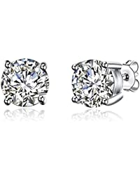 GIVA Sterling Silver AAA+ quality CZ stylish stud earrings (8mm) for women with BIS hallmark, certification and warranty