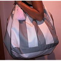Bolso de mano, gris y blanco con rayas, un regalo ideal para ella,