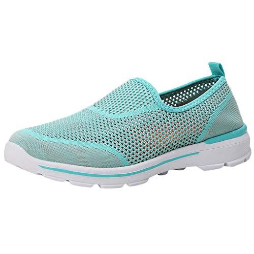 Preisvergleich Produktbild Damen Sportschuhe Laufschuhe Leichte Straßenlaufschuhe Atmungsaktiv Sneaker Mesh Slip on Wanderschuhe Slip-on Freizeitschuhe Pantoletten Casual Sneakers (EU:38,  Minzgrün)