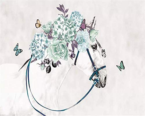 3d wallpaper wandbild kleine frische weiße pferd blumen schmetterling tv wohnzimmer wand 3d wallpaper kunst wandbild vlies moderne wand dekorative malerei-A3 -