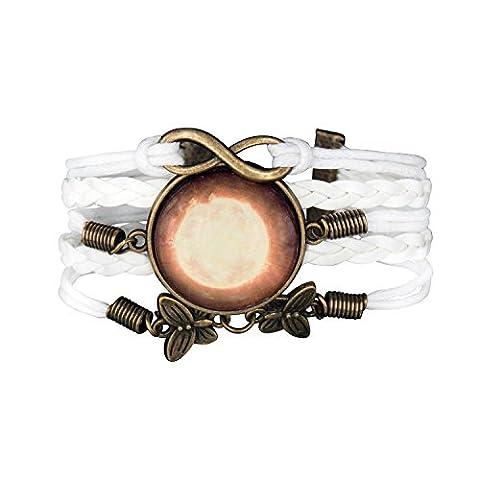 Bracelet Infinity Medaillon Galaxie Infini Karma Papillon Blanc
