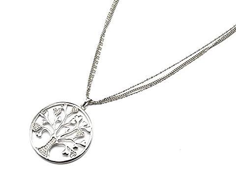 cl1199e Halskette Style Anhänger Kreis Durchbrochenes Baum des Lebens Strass Silber–Metallkette