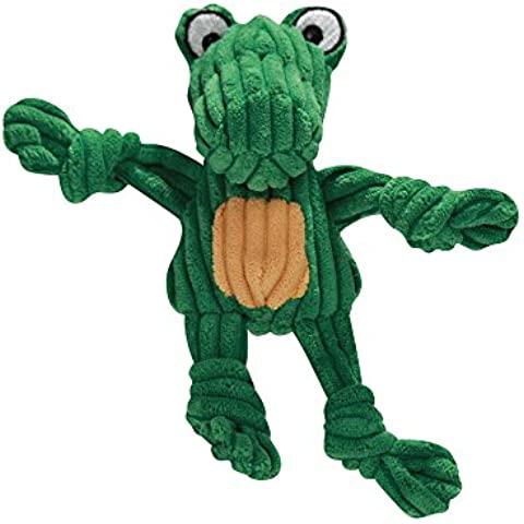 HuggleHounds Plush Corduroy Durable Wee Huggles Alligator Dog Toy, Green/Yellow by HuggleHounds