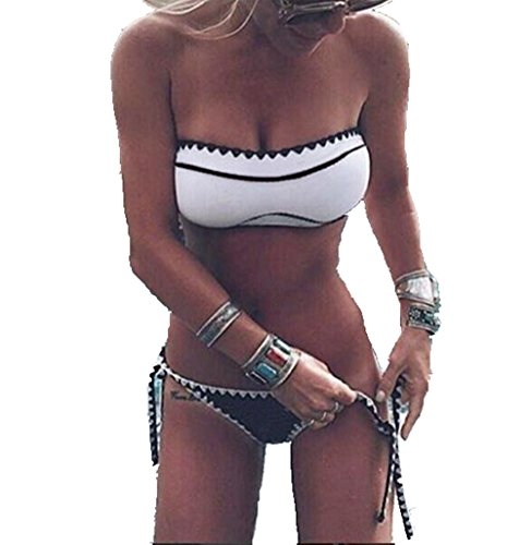 ASSKDAN Damen Sexy Bikini Bandeau Push Up Gepolstert Bademode Schwarz Weiß (L, Weiß)