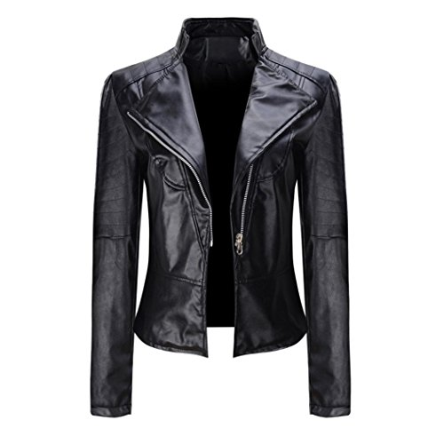 HARRYSTORE Women's Faux Leather Moto Biker Short Coat Jacket