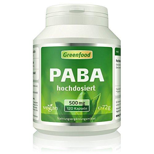 Greenfood PABA, 500mg, hochdosiert, 120 Kapseln
