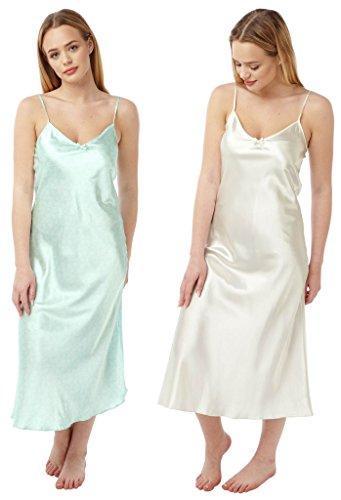 Satin Nachthemd, für Damen, volle Länge, seidiges Negligee Gr. 42, 2 PACK -Mint Cream Star - Full Length (Creme Kimono)
