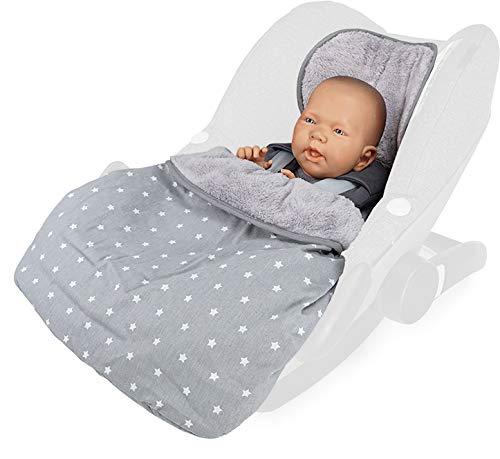 Priebes Cosybag STELLA   Fußsack 2in1 für Babyschale/Leichter Universal Fußsack und Einschlagdecke für Babyschale/Babydecke für Babyschale, Design:stars grau -