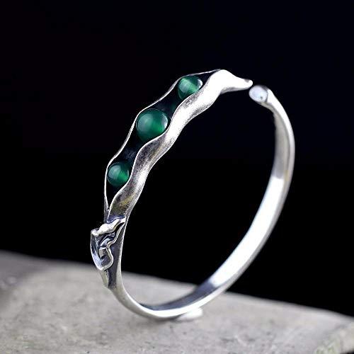 HKP wy Reines Silber Sterlingsilber Schmuck original Design Thai Silber Handgefertigte Damen übertragen grüne Jade Knochenmark-Armband